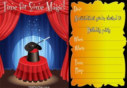 Free printable magic birthday party invite for kid's magic show